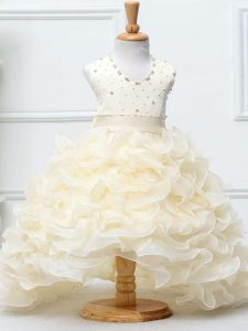 New Arrival Halter Top Sleeveless Zipper Kids Pageant Dress Champagne Organza