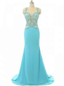 Custom Designed Sleeveless Brush Train Backless Lace and Appliques Formal Dresses