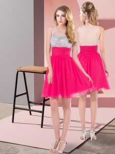 Hot Pink Sleeveless Chiffon Side Zipper Homecoming Gowns for Prom and Party and Sweet 16
