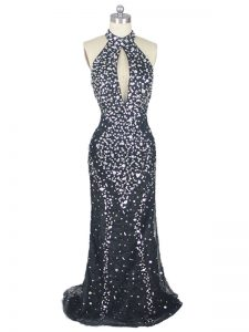 Admirable Zipper Celebrity Dress Black for Prom and Party and Military Ball with Beading Brush Train