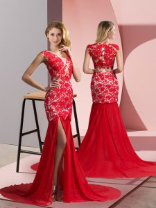 Beauteous Coral Red Zipper Runway Inspired Dress Lace Sleeveless Brush Train