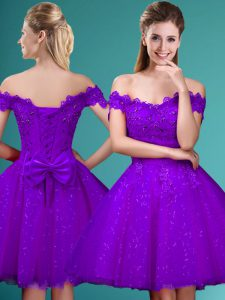 Fabulous Cap Sleeves Knee Length Lace and Belt Lace Up Quinceanera Dama Dress with Eggplant Purple