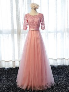 Lace Court Dresses for Sweet 16 Pink Lace Up Half Sleeves Floor Length