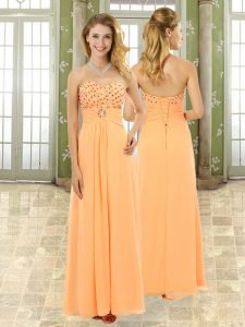 Ideal Floor Length Orange Prom Evening Gown Chiffon Sleeveless Beading and Ruffles