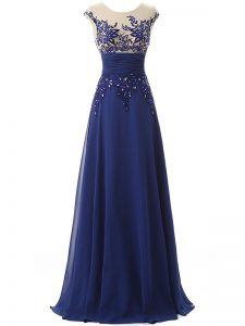 Spectacular Blue Chiffon Zipper Evening Dress Sleeveless Floor Length Lace and Appliques and Ruching