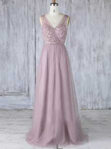 Beauteous Lavender V-neck Criss Cross Appliques Wedding Guest Dresses Sleeveless