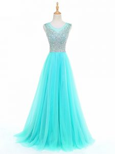 Aqua Blue A-line Beading Evening Dress Side Zipper Tulle Sleeveless Floor Length