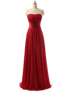 Elegant Wine Red Dama Dress Prom and Party and Wedding Party with Ruching Sweetheart Sleeveless Lace Up