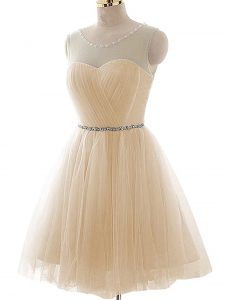 Dazzling Champagne Scoop Neckline Beading and Ruching Prom Gown Sleeveless Lace Up