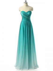 Sleeveless Chiffon Floor Length Zipper Wedding Guest Dresses in Multi-color with Ruching