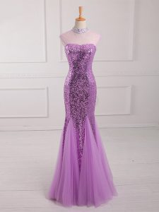 Great Lilac Going Out Dresses Prom and Party and Military Ball with Beading and Sequins Halter Top Sleeveless Lace Up