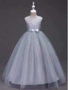 Simple Grey A-line Tulle Scoop Sleeveless Lace Floor Length Zipper Flower Girl Dress