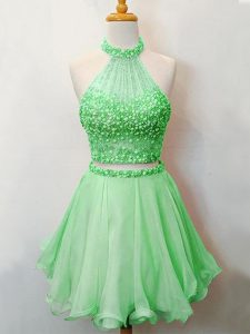 Custom Designed Sleeveless Knee Length Beading Lace Up Bridesmaid Dresses with Green