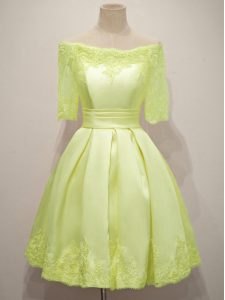Yellow Lace Up Off The Shoulder Lace Bridesmaid Dress Taffeta Half Sleeves