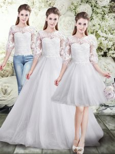 White Three Pieces Scoop Half Sleeves Tulle Floor Length Lace Up Lace Wedding Gowns