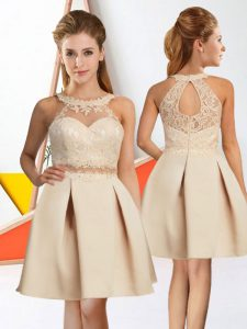Champagne Sleeveless Lace Knee Length Wedding Party Dress