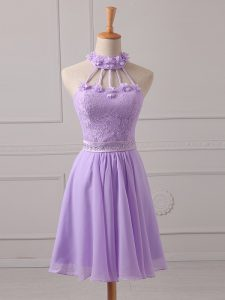 Chic Halter Top Sleeveless Court Dresses for Sweet 16 Mini Length Lace and Appliques Lavender Chiffon