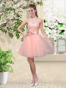 Dazzling Peach Sleeveless Lace and Belt Knee Length Bridesmaid Gown