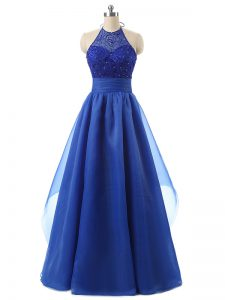 Custom Design Blue Zipper Beading and Ruffles Sleeveless Floor Length