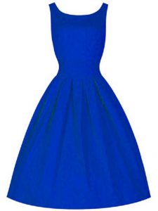 Sleeveless Taffeta Knee Length Lace Up Bridesmaid Gown in Royal Blue with Ruching
