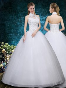 Graceful White Lace Up Wedding Dress Beading and Embroidery Sleeveless Floor Length