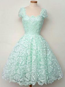 Apple Green A-line Straps Cap Sleeves Lace Knee Length Lace Up Lace Quinceanera Court Dresses