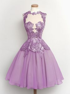 Fantastic Lilac Chiffon Lace Up High-neck Sleeveless Knee Length Damas Dress Lace