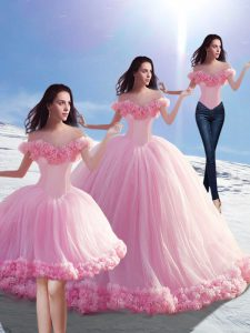 Off The Shoulder Sleeveless Tulle Quinceanera Dress Hand Made Flower Brush Train Lace Up