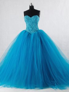 High Quality Baby Blue Ball Gowns Beading Quinceanera Dress Lace Up Tulle Sleeveless Floor Length