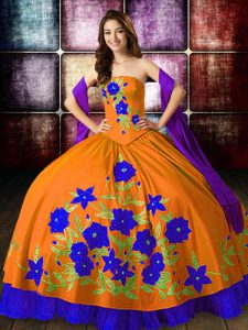 Orange Red Ball Gowns Embroidery 15 Quinceanera Dress Lace Up Taffeta Sleeveless Floor Length