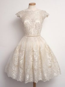 Luxury Scalloped Cap Sleeves Damas Dress Knee Length Lace Champagne Lace