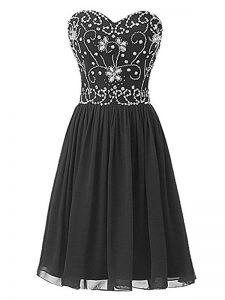Beading Dress for Prom Black Lace Up Sleeveless Knee Length