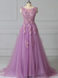 Superior Lilac Tulle Lace Up Scoop Sleeveless Prom Dresses Brush Train Appliques and Pattern