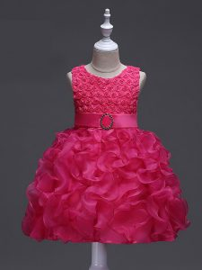 Trendy Sleeveless Ruffles and Belt Lace Up Kids Formal Wear