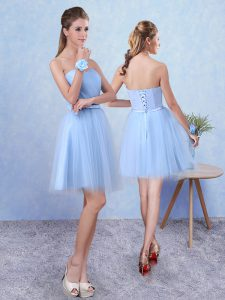 Luxurious Sleeveless Knee Length Ruching Lace Up Quinceanera Court Dresses with Blue