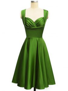 Green Dama Dress Prom and Party and Wedding Party with Ruching Straps Sleeveless Lace Up