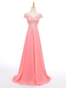 Floor Length Zipper Going Out Dresses Watermelon Red for Prom and Military Ball and Sweet 16 with Lace and Appliques