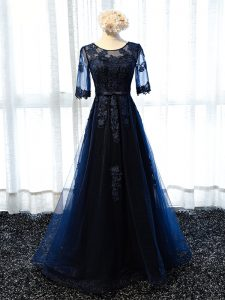 Latest Navy Blue Half Sleeves Tulle Lace Up Homecoming Dress for Prom and Party