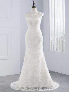 Designer Sleeveless Lace Zipper Wedding Dresses in White with Lace and Appliques
