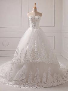 Edgy White Lace Up Sweetheart Lace and Appliques Wedding Gown Tulle Sleeveless Brush Train