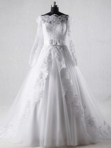 Suitable White Long Sleeves Tulle Brush Train Zipper Wedding Gowns for Wedding Party