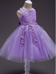 Trendy Lavender Ball Gowns Lace and Belt Little Girls Pageant Dress Zipper Tulle Sleeveless Knee Length