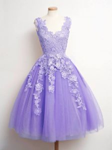 Pretty A-line Court Dresses for Sweet 16 Lavender V-neck Tulle Sleeveless Knee Length Lace Up