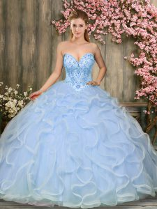 Edgy Light Blue Sleeveless Tulle Lace Up Sweet 16 Dresses for Military Ball and Sweet 16 and Quinceanera