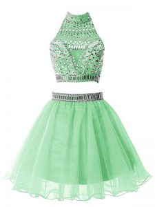 Graceful Sleeveless Mini Length Beading Zipper Wedding Party Dress with Apple Green