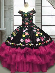 Stunning Multi-color Sleeveless Floor Length Embroidery and Ruffled Layers Lace Up Sweet 16 Quinceanera Dress