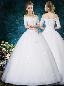 Dramatic Ball Gowns Wedding Dresses White Off The Shoulder Tulle Half Sleeves Floor Length Lace Up