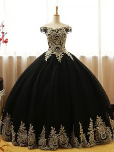 Decent Black Ball Gowns Appliques Quince Ball Gowns Lace Up Tulle Sleeveless Floor Length