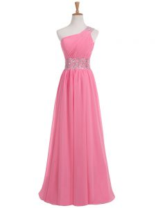 Rose Pink Chiffon Backless Formal Dresses Sleeveless Floor Length Beading and Ruching