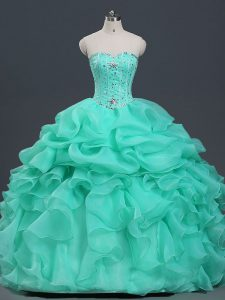 Perfect Sleeveless Floor Length Beading and Ruffles and Pick Ups Lace Up Quinceanera Gowns with Apple Green